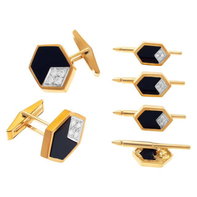 Geometric onyx & diamond cufflink & tuxedo stud set in 18k, approximately 0.50 carats image 1