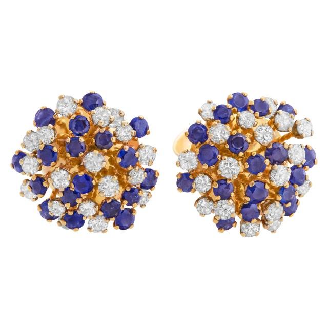 Sapphire & diamond earrings in 14k yellow gold image 1