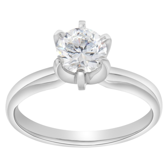 GIA certified round brilliant cut diamond 1.02 carat (F color, SI1 clarity) ring in platinum setting image 1