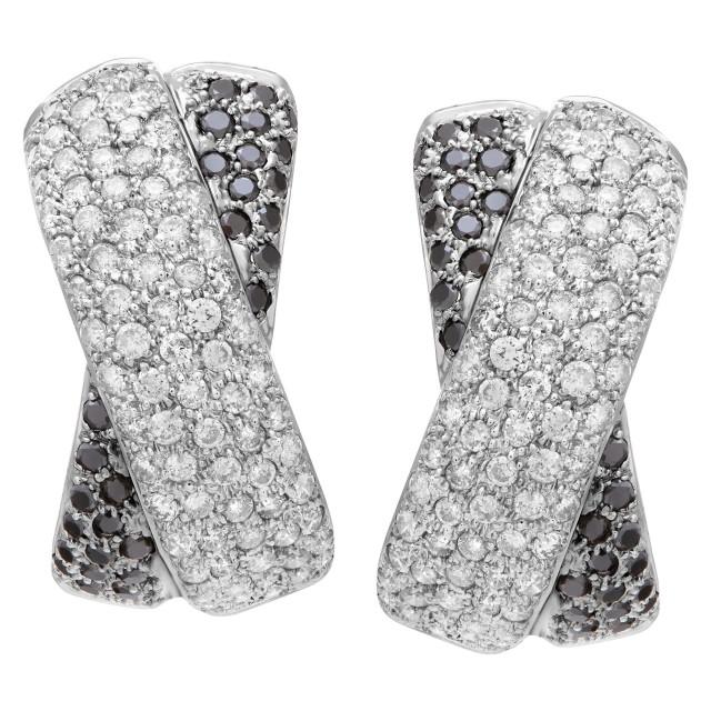 Black and white diamond earing X kisses 14k white gold image 1