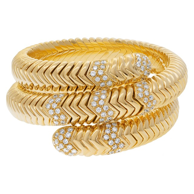 Wrap snake bracelet in 18k with over 4 carats in diamonds image 1