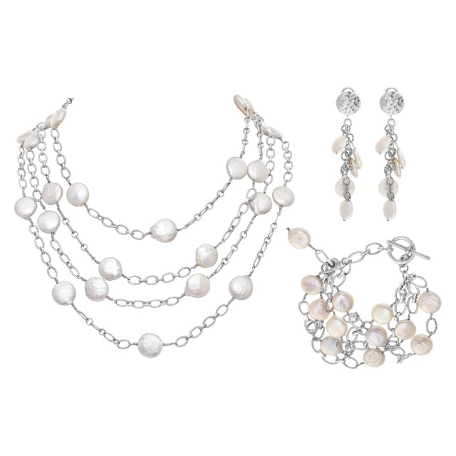 Set with earrings, bracelet and necklace in 14k white gold with Mother of Pearl dots image 1