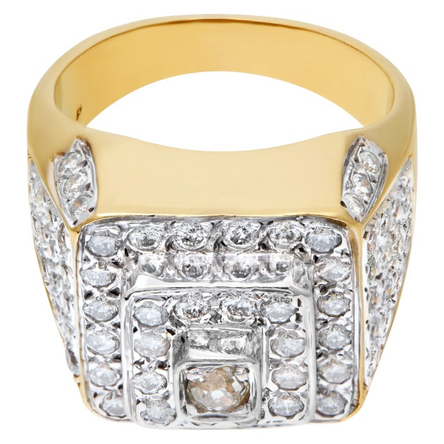 Mens diamond ring in 14k white and yellow gold image 1