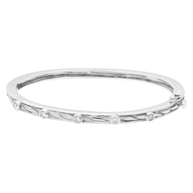 Beautiful bangle with five diamonds total 0.50 carats set in 14k white gold image 1