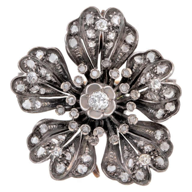 Antique Victorian Diamond Flower Brooch image 1