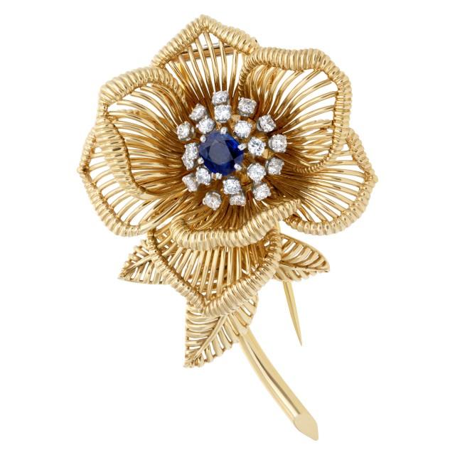 Sapphire & diamond flower brooch in 18k image 1
