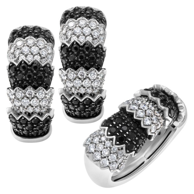 "Roberto Coin ""Cobra"" earrings and ring set in 18k white gold with white diamonds & black sapphires image 1"
