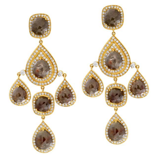 Devine 18k yellow gold rough diamond drop earrings image 1