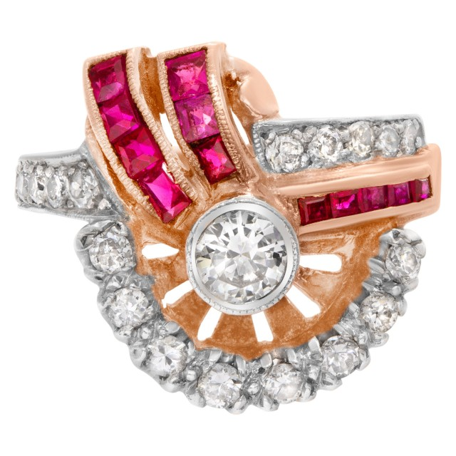 "Art Deco""Spray"" diamond and ruby ring in 14k rose gold image 1"