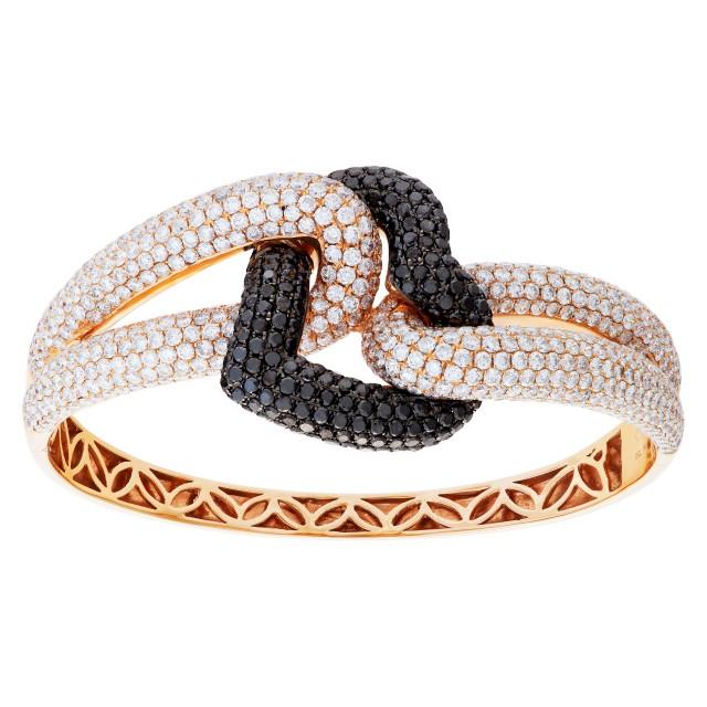 Diamond bangle in 18k rose gold with 6 carats white diamonds & 2 carat black diamonds. image 1