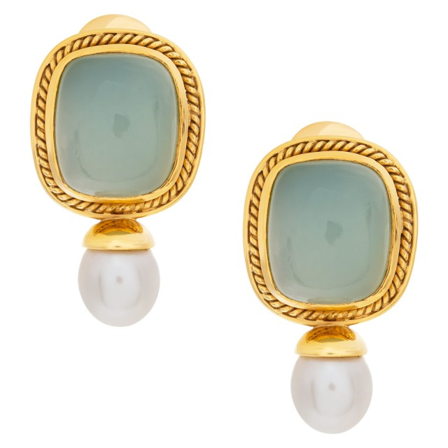 Green chalcedony earrings framed in 18k with drop pearl accent image 1