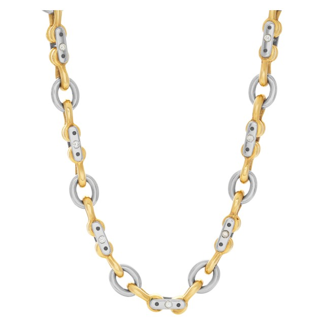 Mechanical link 18k white & yellow gold chain with diamond accents image 1