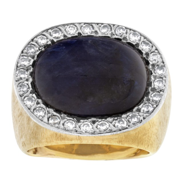 Chunky sapphire ring with diamond accents in 14k image 1