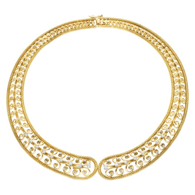 Swirl link choker necklace with diamond accents in 18k image 1