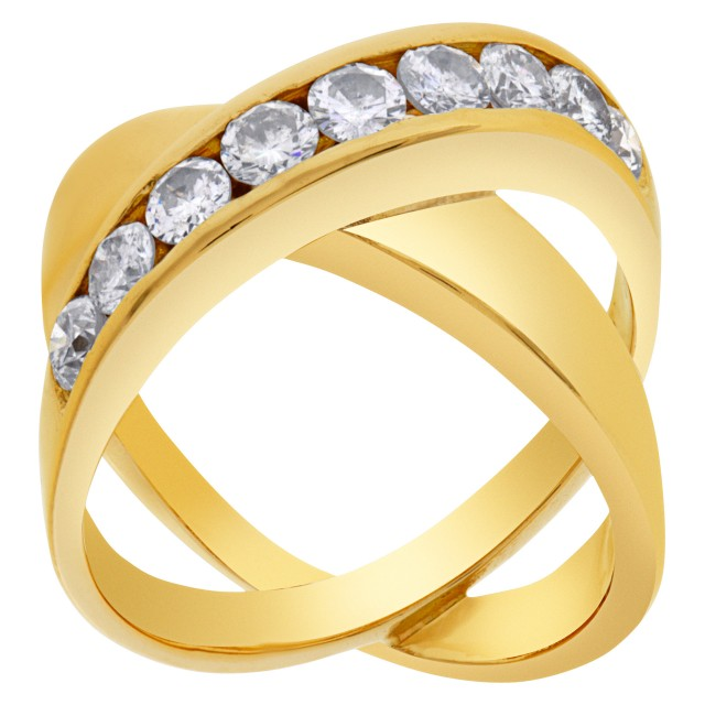"Diamond ""X"" kiss ring in 14k with 0.90 carats in round diamond accents image 1"