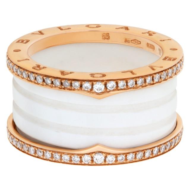 Bvlgari B.zero1 ring in 18k rose gold with diamonds & white ceramic- Ref: 349963 image 1