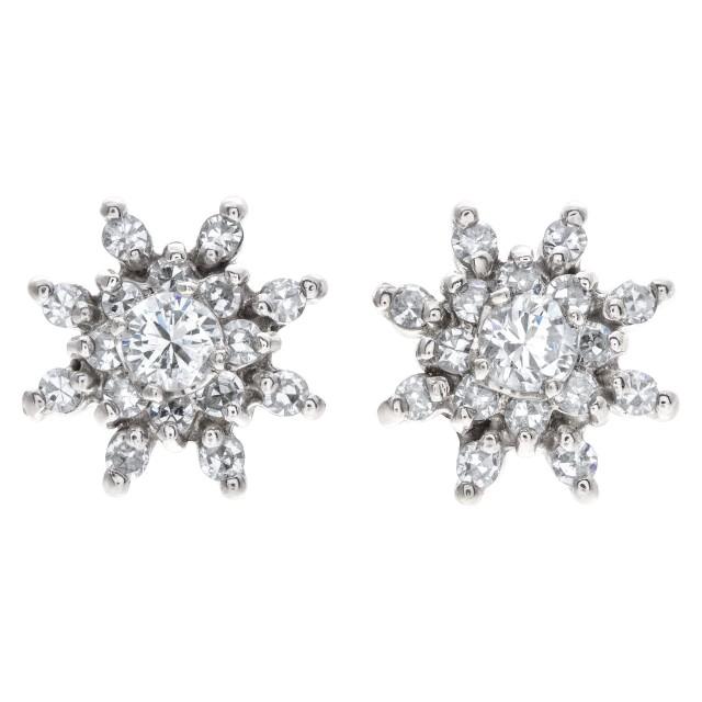 Diamond snowflakes earrings In 14k White Gold image 1