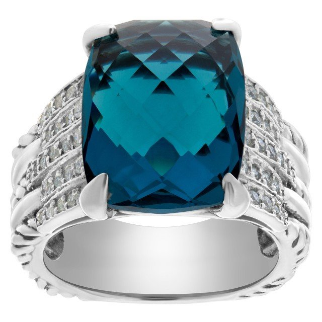 David Yurman Tides Hampton blue topaz statement ring with accent diamonds in sterling silver image 1