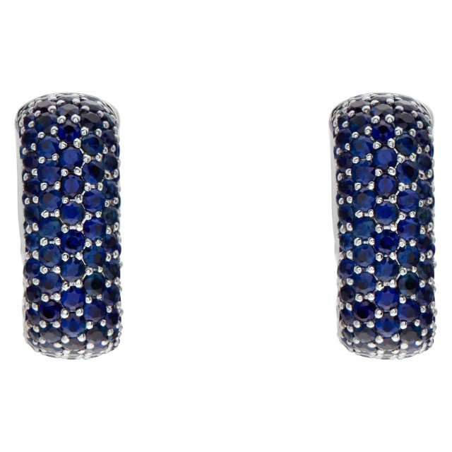 18k White Gold Square Hoop Earrings With 5.72 Carats In Blue Round Cut Sapphires image 1