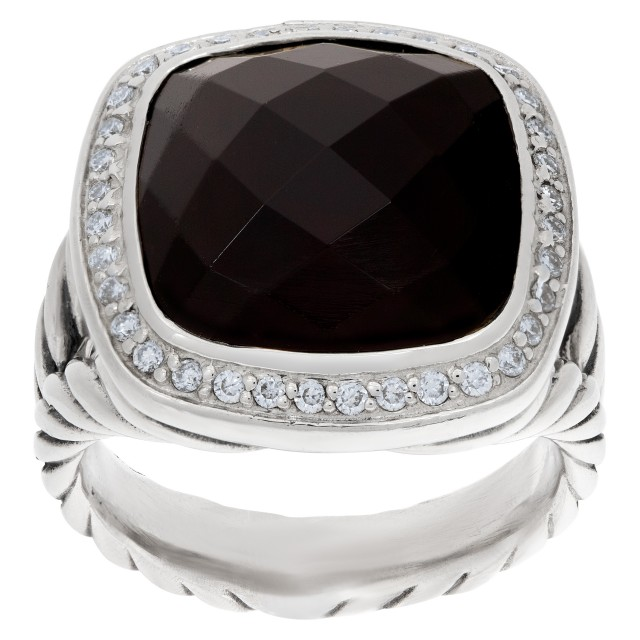 David Yurman Albion onyx ring with diamond accents in sterling silver image 1