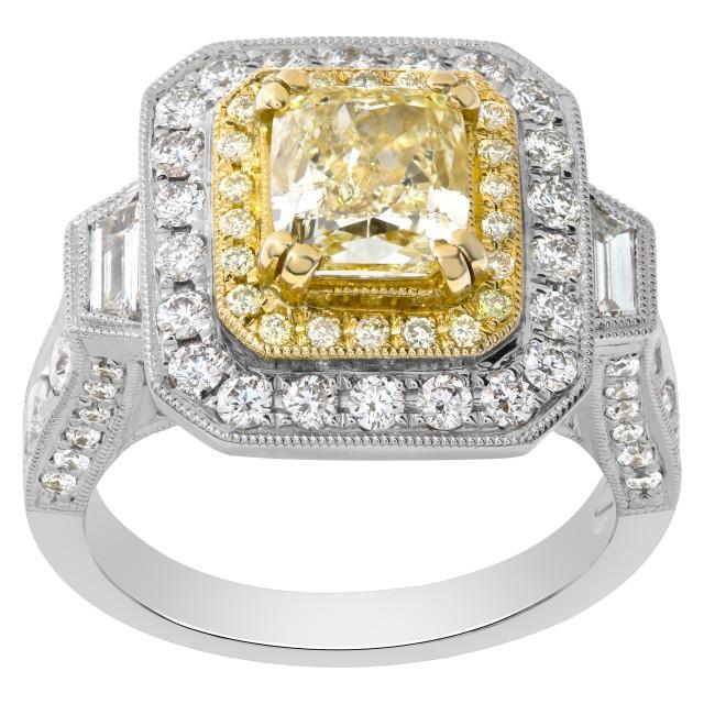 GIA certified Light yellow 1.51 carat cushion brilliant cut diamond ring in 18k white gold image 1