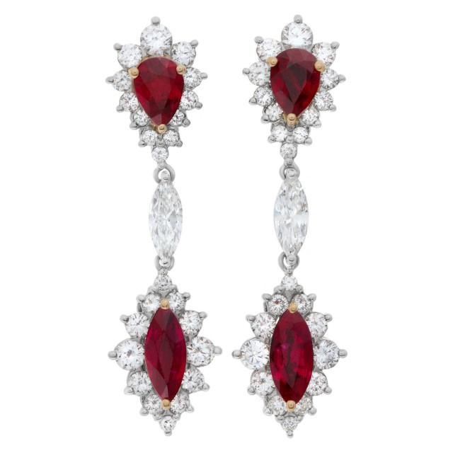 AGL certified Ruby and diamond drop earrings image 1