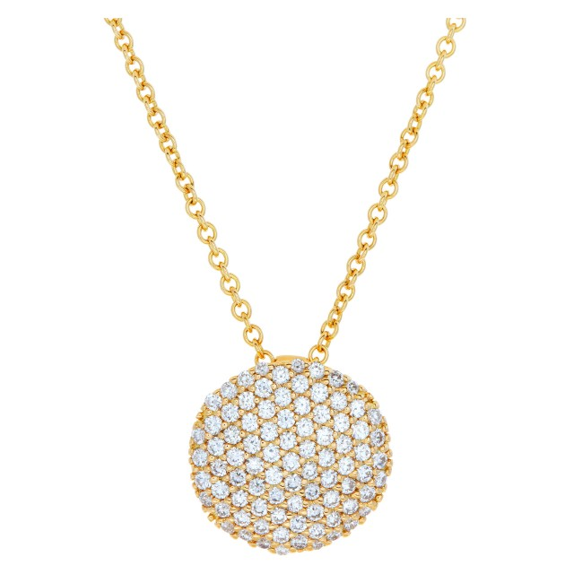 "Italian design, pave diamond pendant with 18k yellow gold chain necklace (16""), total approx. diamond weight: 1.25 carat. image 1"