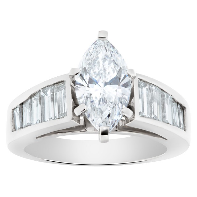 GIA certified marquise brilliant cut diamond 1.53 carat (D color, SI1 clarity) set in platinum setting image 1