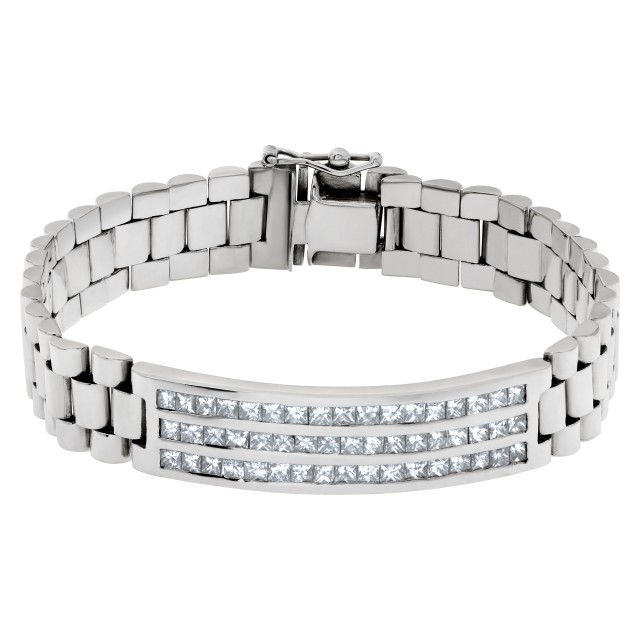 President Style Mens Bracelet In 18k White Gold With Over 3 Carats In Diamonds image 1