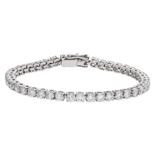 Sparkling line diamonds bracelet with over 5 carats full cut round brilliant diamonds set in 18k white gold. image 1