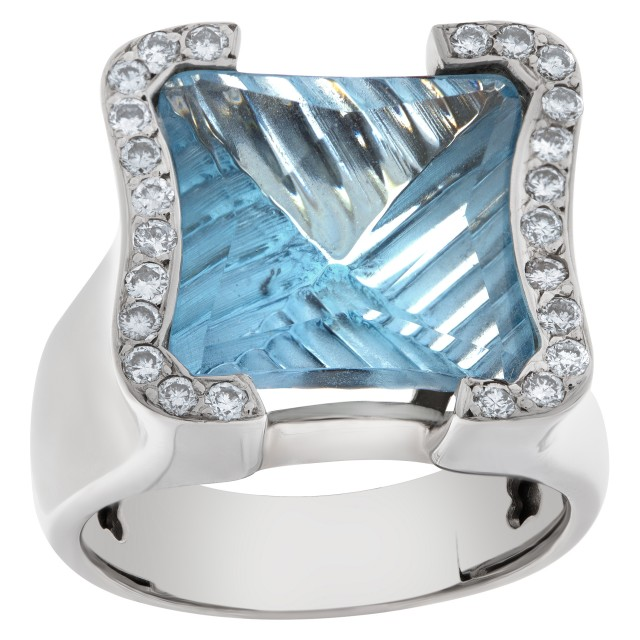 Blue Topaz and diamond ring in 18k white gold image 1