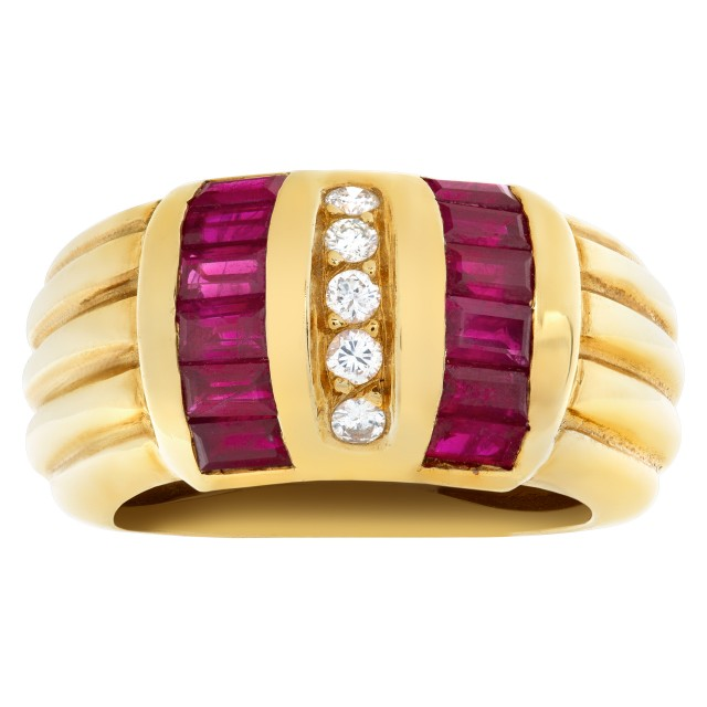 Ruby and Diamond set in 18k yellow gold ring. image 1