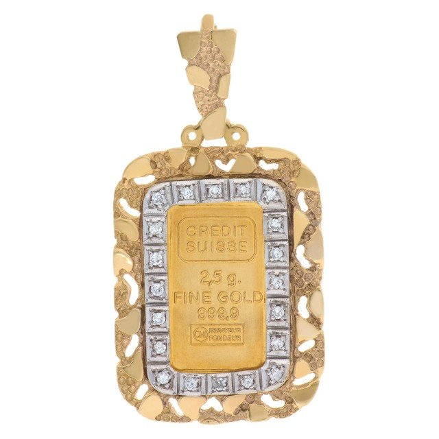 2.5 gram Ingot pendant framed in 14k yellow gold with 0.20 cts in diamonds. image 1