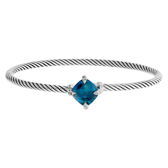 """David Yurman """"Chatelaine"""" bangle in sterling silver w/ blue topaz and diamonds prongs. image 1"""