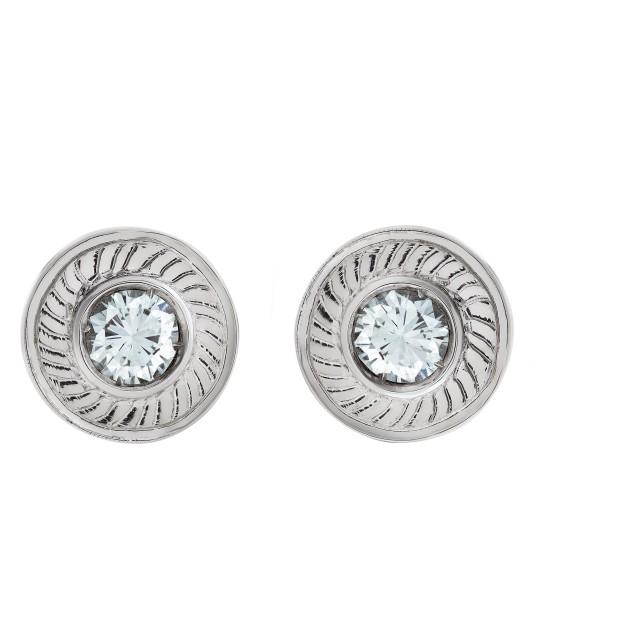 Diamond stud earrings in 18k white gold image 1
