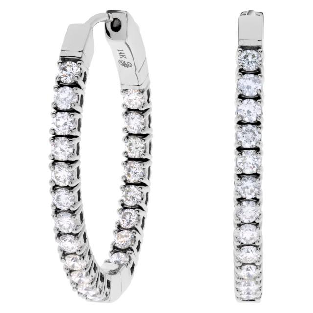 Diamond hoops in 14k white gold image 1