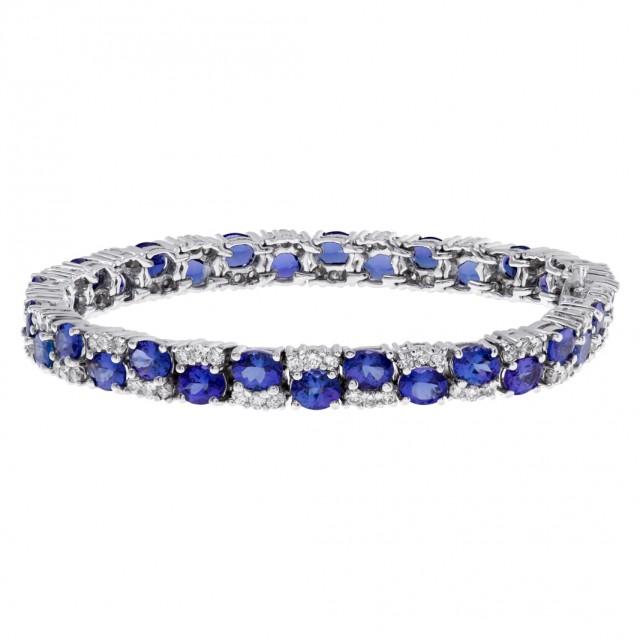 Diamond and Tanzanite bracelet in 14k white gold image 1