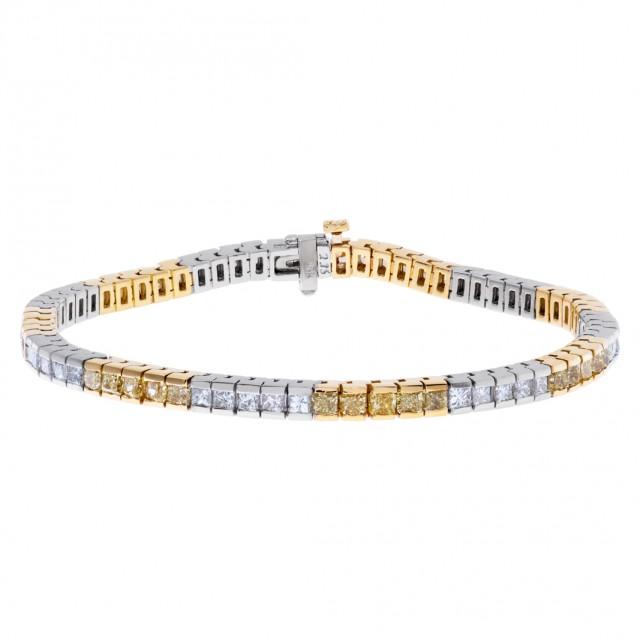 Princess cut diamond bracelet in 18k white and yellow gold image 1