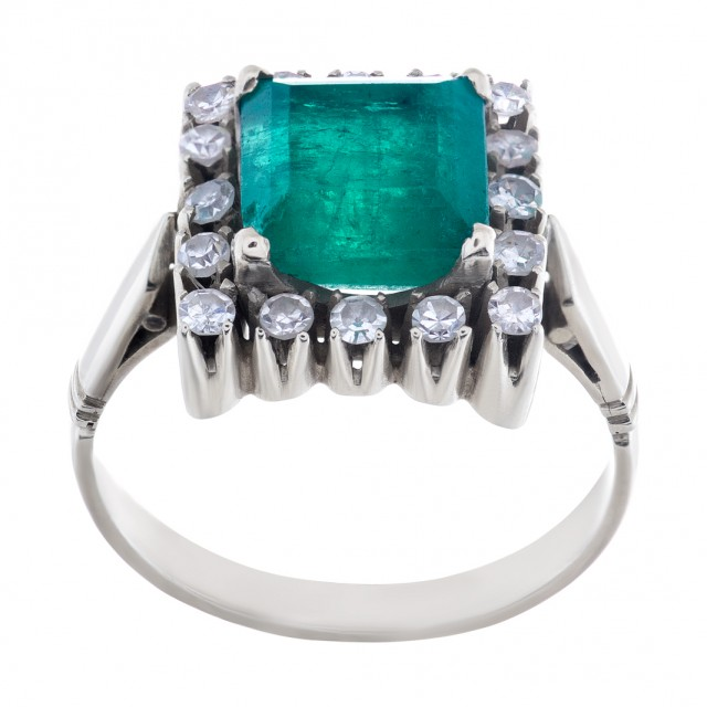 Vintage emerald with diamond halo 14k ring image 1