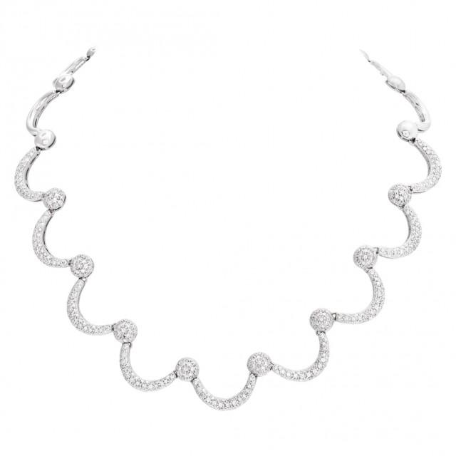 Half moon diamond necklace in 18k white gold image 1