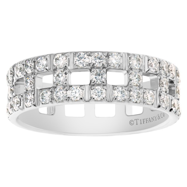 """Tiffany & Co. """"True Wide"""" Ring collection wedding band in 18k White Gold w/ diamonds image 1"""
