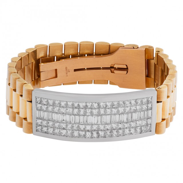 """President"" style diamond I.D. bracelet in 18k image 1"