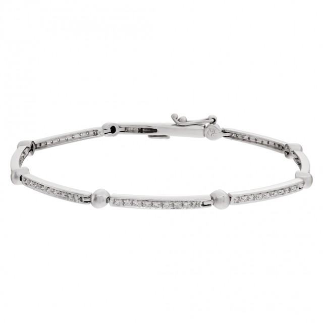 Danty 18k white gold bracelet with pave diamonds image 1