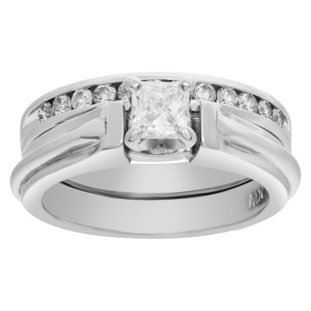 Diamond Ring in Platinum with Semi Eternity Band image 1