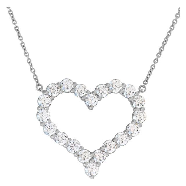 Tiffany & Co. diamond heart pendant necklace in platinum image 1