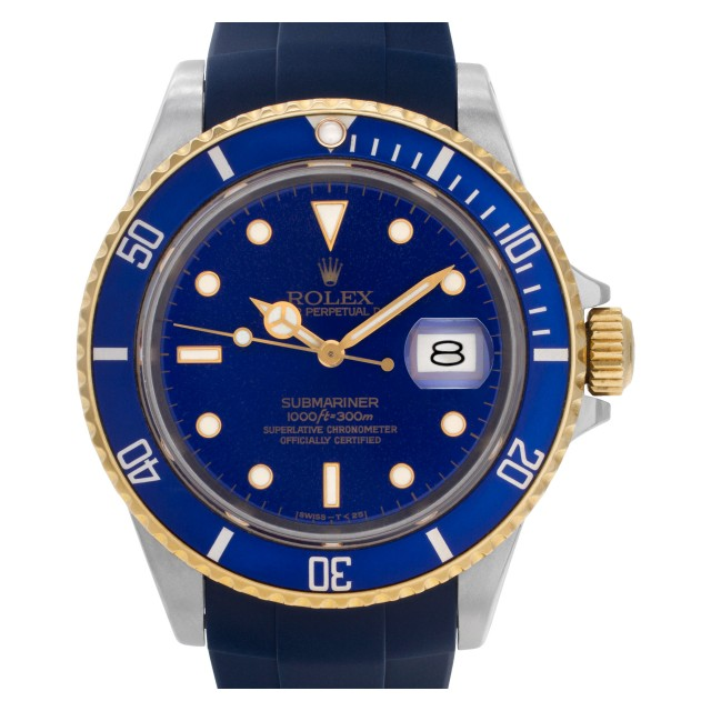 d7bce7b622c Pre-owned Rolex Submariner 16803 18k & steel Blue dial 40mm auto watch