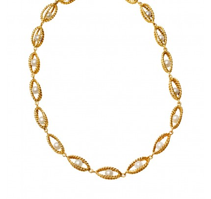 Twisted gold and floating cultered pearl necklace in 14k.
