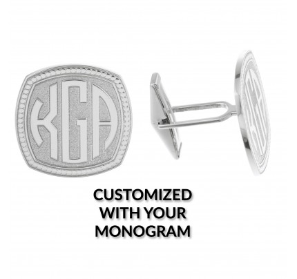 Pair of 18k white gold monogrammed cufflinks