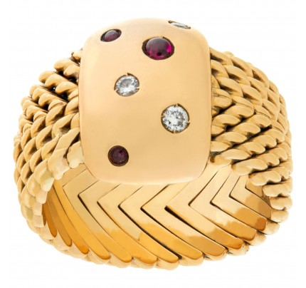 Ruby & Diamond  Mesh Ring In 18k yellow and rose gold. Size 7