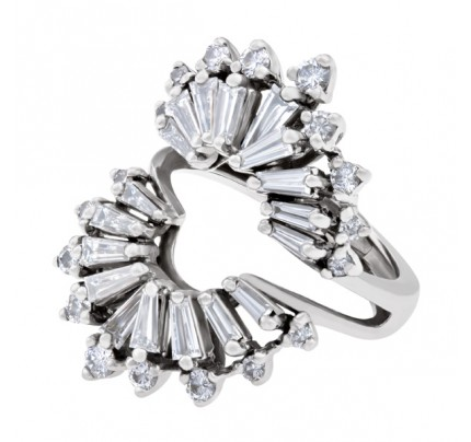 Diamond ring jacket in 14k white gold. 1.50 carats (F-G color, VVS clarity)